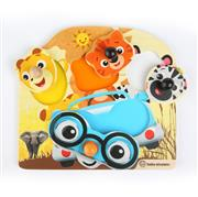 Baby Einstein dřevěné puzzle Friendy Safari Faces Hape 12m+